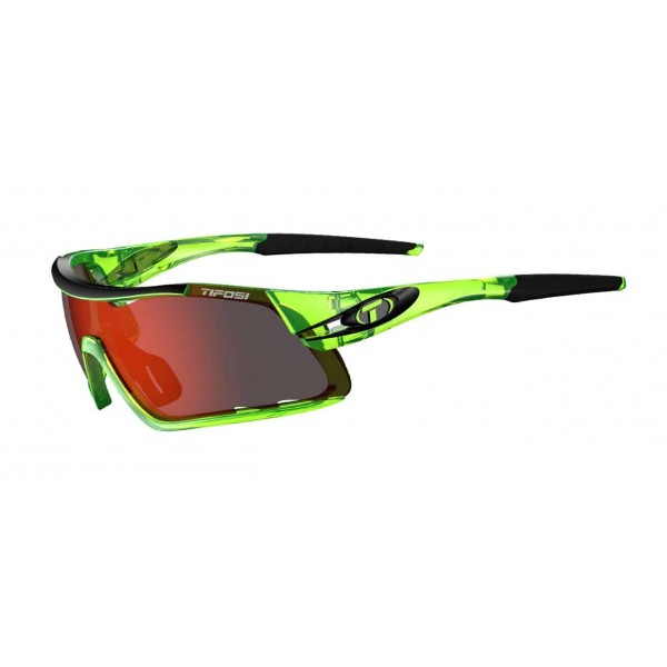 Tifosi Davos Sunglasses, Crystal Neon Green with Clarion Red / AC Red / Clear Interchangeable Lenses