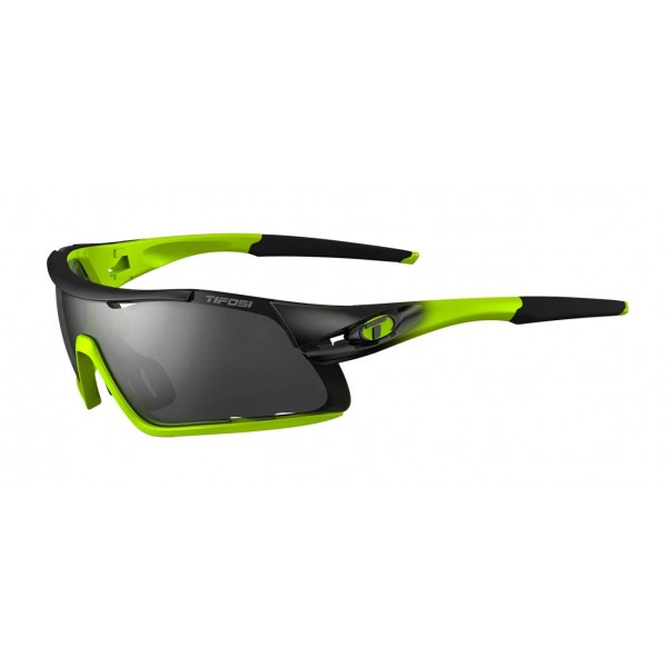 Tifosi Davos Sunglasses, Race Neon with Smoke / AC Red / Clear Interchangeable Lenses