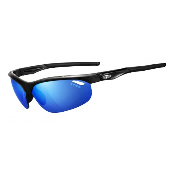 Tifosi Veloce Sunglasses, Gloss Black  with Clarion Blue / AC Red / Clear Interchangeable Lenses