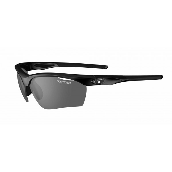 Tifosi Vero Sunglasses, Gloss Black  with Smoke / AC Red / Clear Interchangeable Lenses