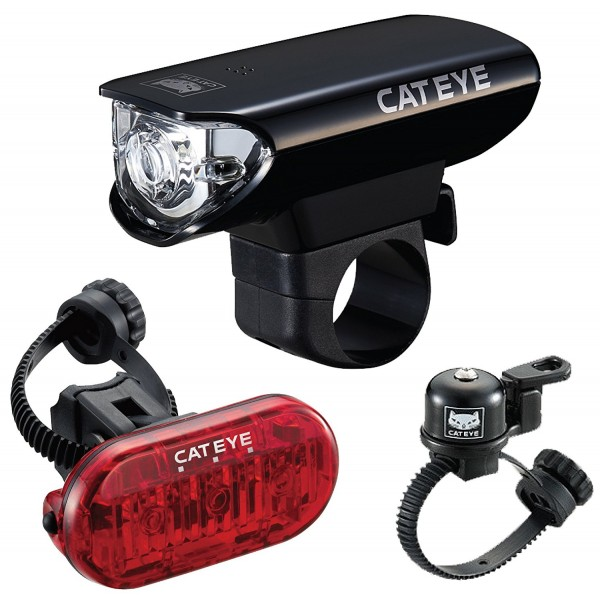 CatEye Bicycle Headlight HL-EL125, Bell OH-2400, Taillight Omni 3 Kit Combo